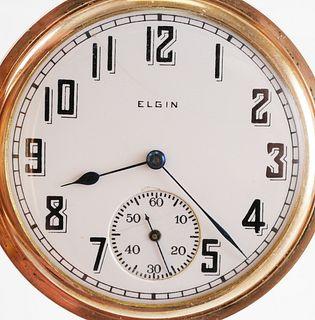 ELGIN Gold Filled Fancy Hunter Case Pocket Watch