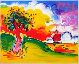 PETER MAX—Quiet Lake Embellished Serigraph—Signed
