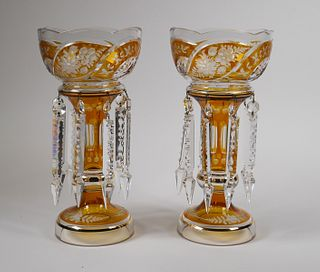 Pair Bohemian Cut to Clear Glass Lusters