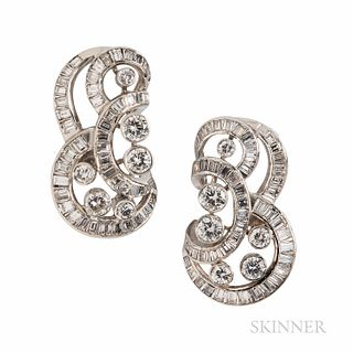 Diamond Earclips, set with full- and baguette-cut diamonds, approx. total wt. 4.50 cts., lg. 1 1/8 in.