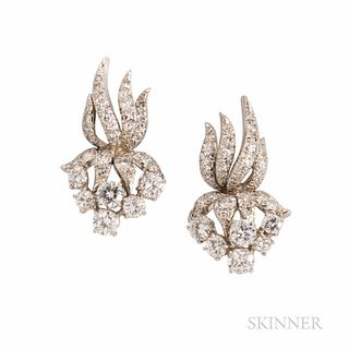 Harry Winston Platinum and Diamond Earclips, c. 1965, set with full- and single-cut diamonds, approx. total wt. 2.75 cts., lg. 1 1/8 in