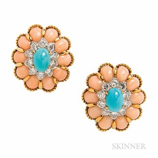 18kt Gold, Coral, Turquoise, and Diamond Earclips, set with cabochon turquoise framed by full-cut diamonds, approx. total wt. 2.00 cts.