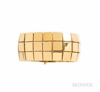 Tiffany & Co. 18kt Gold Bracelet, Italy, c. 2002, designed as a flexible strap of square links, 78.4 dwt, 7 1/4 x 1 1/8 in., signed.