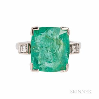 Emerald and Diamond Ring, the rectangular cushion-cut emerald measuring approx. 13.00 x 11.20 x 8.00 mm, flanked by square-cut diamonds