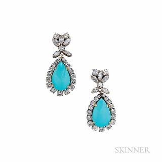 18kt White Gold, Turquoise, and Diamond Earclips, the turquoise drops framed by full-cut diamonds, suspended from marquise- and full-cu