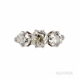 Platinum and Diamond Ring, Mounted by Harry Winston, set with three old European-cut diamonds weighing approx. 1.15, 0.70, and 0.60 cts