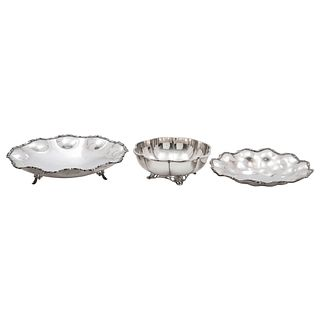 Lot of Centerpieces, Mexico, 20th century, 0.925 Sterling Silver, Lobed design, a couple of them with carved edges, 2067 g, Pieces: 3