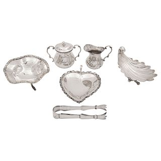 Mixed Lot, Mexico, 20th century, 0.925 Sterling Silver and silver metal, Consists of ashtrays, cream jug, and sugar bowl, 830 g, Pieces: 6