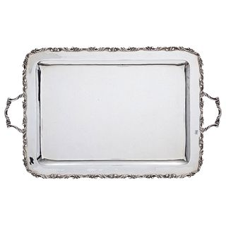 Service Tray, Mexico, 20th century, GH Sterling Silver 0.925, Rectangular, carved edge with acanthus-style design, 2504 g
