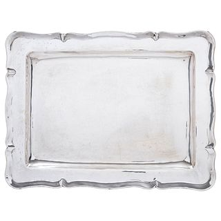 Tray, Mexico, 20th century, ORTEGA Sterling Silver 0.925, Rectangular, compound edge, 1124 g