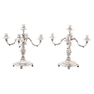 Pair of Candlesticks, Mexico, 20th century, ORTEGA Sterling Silver 0.925, Arms with acanthus-style designs, 6716 g