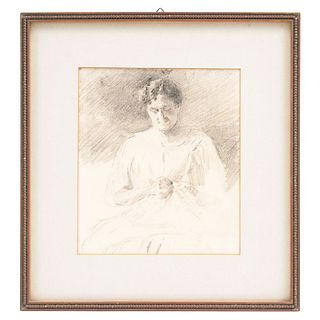 "ATTRIBUTED TO MATEO HERRERA (MÉXICO, 1867-1927), RETRATO DE DAMA, Pencil on paper, Unsigned, 7.6 x 6.6"" (19.5 x 17 cm)"
