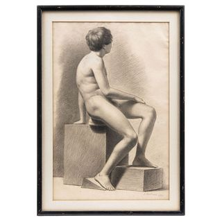 "SIGNED I. MARTÍNEZ ESTUDIO (DESNUDO MASCULINO), Pencil on paper, Dated 1893, 15.3 x 10"" (39 x 25.5 cm)"
