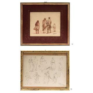 "ARMANDO GARCÍA NÚÑEZ A) PERSONAJES DE ESPALDAS, Sanguine on paper, B) RAMBLA,BARCELONA, Pencil on paper, 9.4 x 12.9"" (24 x 33 cm)"