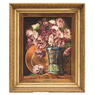"ATTRIBUTED TO MATEO HERRERA (MÉXICO, 1867-1927), FLORERO CON ROSAS, Oil on masonite, Unsigned, 19.2 x 15.1"" (49 x 38.5 cm)"