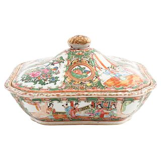 "DISH, CHINA, CA. 1900, Cantonese style, ROSA Family, Made of porcelain, polychrome decoration, 5.5 x 10 x 8.6"" (14 x 25.5 x 22 cm)"