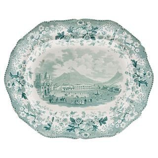 "Platter, England, 19th century, DAVENPORT, Made in semi-porcelain, stamped decoration in green, 13.5 x 16.9"" (34.5 x 43 cm)"