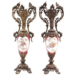 Pair of Side Ornaments, France, CA. 1900, Made of porcelain, with gold metal applications