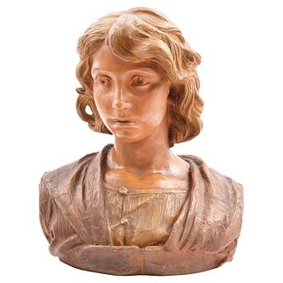 CONSTANTINO BARBELLA (ITALY, 1852-1925), BUSTO DE DAMA, Made in terracotta, Signed and dated Roma 1°- 6 - 1901