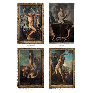 """ANTONIO DE TORRES, MARTIROLOGIO (SANTOS BARTOLOMÉ, JUAN, PEDRO Y SIMÓN), Oil on canvas, 62.9 x 38.1"""" (160 x 97 cm), Pieces: 4"""