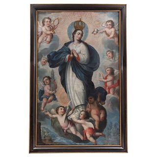 """MIGUEL DE HERRERA, INMACULADA CONCEPCIÓN (CORONADA Y CON LETANÍA), Oil on canvas, Signed, 74 x 45.6"""" (188 x 116 cm)"""
