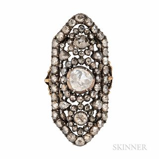 Antique Rose-cut Diamond Ring, set with foil-back rose-cut diamonds, the largest measuring approx. 7.00, 4.00, and 4.00 mm, silver-topp