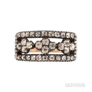 Antique Old Mine-cut Diamond Ring, set with foil-back diamonds, approx. total wt. 1.20 cts., silver-topped gold mount, size 7 3/4.