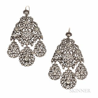 Antique Silver and Paste Girandole Earrings, probably 19th century, set with foil-back pastes, lg. 3 in.