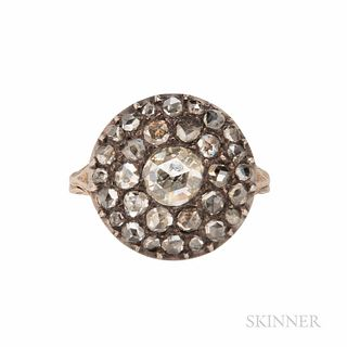 Antique Rose-cut Diamond Ring, set with foil-back rose-cut diamonds, the center diamond measuring approx. 5.50 mm, silver-topped gold m