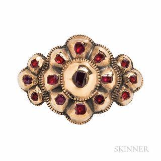 Antique Gold Gem-set Ring, probably Dutch, set with foil-back colored stones, size 7, hallmarks.