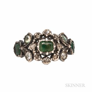 Antique Gem-set Ring, with foil-back green stones and rose-cut diamonds, silver-topped gold mount, size 7 3/4.