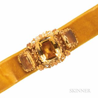 Antique Bicolor Gold and Citrine Slide, prong-set with three cushion-cut citrines, framed by floral and foliate motifs, 2 x 1 1/8 in.