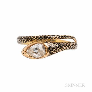 Antique Gold, Enamel, and Diamond Snake Ring, set with an old pear-shape diamond, size 7.