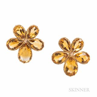 Antique Gold and Citrine Pansy Earrings, 6.1 dwt, lg. 15/16 in.