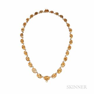 Antique Gold and Citrine Riviere, with bezel-set citrines, 21.3 dwt, lg. 15 5/8 in.