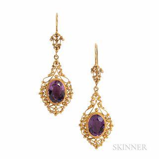 Antique 14kt Gold and Amethyst Earrings, in fine filigree mounts, 4.0 dwt, lg. 1 7/8 in.
