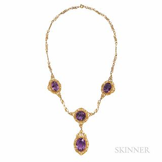 Antique Gold and Amethyst Necklace, in fine filigree mounts, lg. 16 1/4, the drop 2 5/8 in.