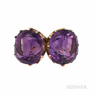 Gold and Amethyst Twin-stone Ring, set with two cushion-cut amethysts, 3.9 dwt, size 4 3/4.