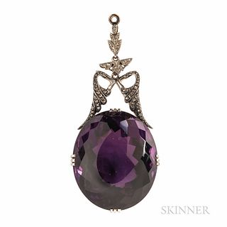 Antique Amethyst and Diamond Pendant, the large oval faceted amethyst measuring approx. 31.00 x 26.00 mm, surmounted by rose-cut diamon