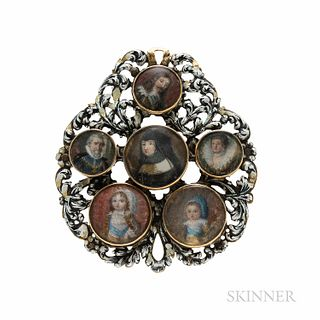 Portrait Miniature and Enamel Pendant, probably late 17th/early 18th century, set with six miniatures of elegantly attired figures from