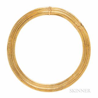 Antique Gold Necklace, composed of tubogas links, 38.1 dwt, lg. 15, wd. 1/2 in., hallmark.