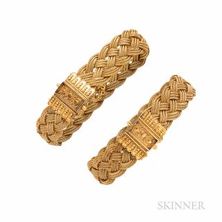 Pair of Victorian Gold Bracelets, each designed as a fine braid, clasps with bead and ropework accents, 34.2 dwt, interior cir. 6, wd.