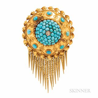 Victorian Gold and Turquoise Brooch, set with cabochon turquoise, and suspending a fringe, reverse with compartment, dia. 1 7/16, lg. 2