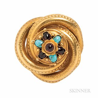 Victorian Gold, Turquoise, and Garnet Brooch, set with cabochons, 6.4 dwt, dia. 1 7/16 in.