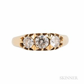 Antique 18kt Gold and Diamond Ring, Sweden, set with old European-cut diamonds, approx. total wt. 0.70 cts., size 6 1/4, hallmarks.