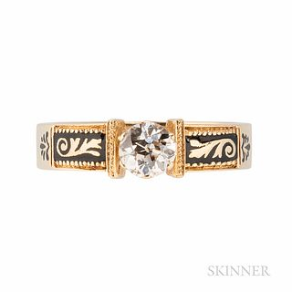 14kt Gold and Diamond Ring, the old European-cut diamond weighing approx. 0.50 cts., black enamel shoulders, 2.9 dwt, size 6 1/2.