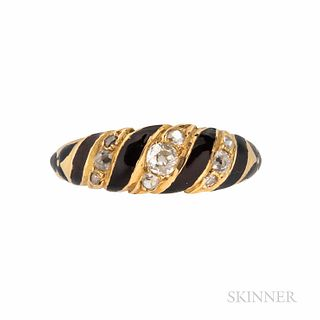 Victorian 18kt Gold, Enamel, and Diamond Mourning Ring, c. 1870, set with old mine- and rose-cut diamonds, 2.2 dwt, size 8 1/2, hallmar