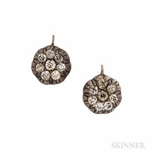 Antique Diamond Earrings, set with old European-cut diamonds, approx. total wt. 1.25 cts., silver-topped gold mounts, lg. 1/2 in.
