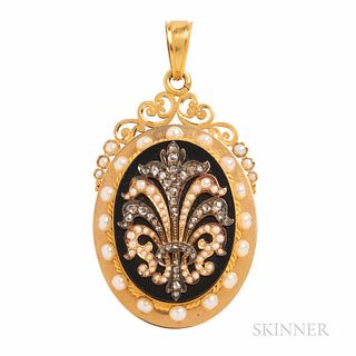 Antique 18kt Gold, Pearl, and Diamond Locket, France, c. 1870, the rose-cut diamond and split pearl feather on onyx ground, reverse wit