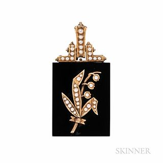 Victorian Gold, Onyx, and Split Pearl Lily of the Valley Pendant, lg. 2 1/4 x 1 1/8 in.